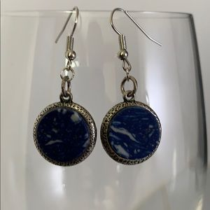 Blue round lapis lazuli gemstone earrings